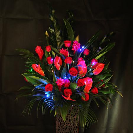スタンド花×キラリカブルー2本+レインボー1本